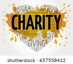 charity word cloud heart concept | Shutterstock . vector #657558412