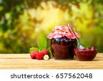 still life with strawberry jam... | Shutterstock . vector #657562048