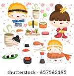 sushi vector set | Shutterstock .eps vector #657562195