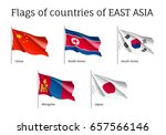 set of waving flags of east... | Shutterstock .eps vector #657566146