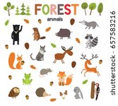 set of forest animals made in... | Shutterstock .eps vector #657583216