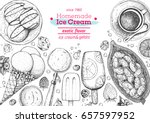 ice cream top view frame.... | Shutterstock .eps vector #657597952