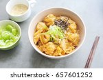 creamy omelet with chicken and... | Shutterstock . vector #657601252