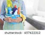 woman with cleaning equipment... | Shutterstock . vector #657622312