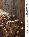 walnuts  and nutcracker on... | Shutterstock . vector #657627022