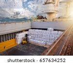sugar bags are loading in hold... | Shutterstock . vector #657634252