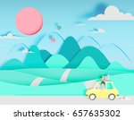 road trip with car and natural... | Shutterstock .eps vector #657635302