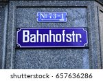 Stock photo banhofstrastrasse sign main street of zurich switzerland 657636286
