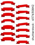 set of red cartoon ribbons and... | Shutterstock . vector #657650842