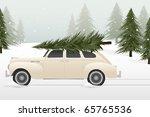 A Vintage Car With A Christmas...