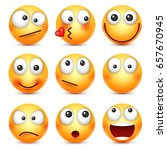 smiley emoticons set. yellow... | Shutterstock .eps vector #657670945