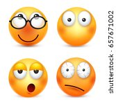 smiley emoticons set. yellow... | Shutterstock .eps vector #657671002