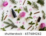 selection of essential oils and ... | Shutterstock . vector #657684262