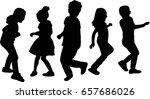 happy kids silhouette vector | Shutterstock .eps vector #657686026