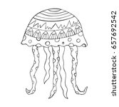 jellyfish doodle with abstract... | Shutterstock .eps vector #657692542