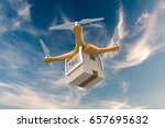 drone flying with a delivery...   Shutterstock . vector #657695632