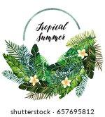 tropical summer. watercolor... | Shutterstock . vector #657695812