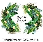 tropical summer. watercolor... | Shutterstock . vector #657695818