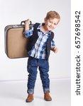 little boy standing with a... | Shutterstock . vector #657698542