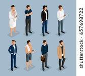 isometric modern mans set 3d... | Shutterstock .eps vector #657698722