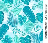 tropical leaves and flowers of... | Shutterstock .eps vector #657701812