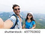 Small photo of Couple With Backpacks Take Selfie Photo Over Mountain Landscape Trekking, Young Man And Woman On Hike Tourists Adventure Activity