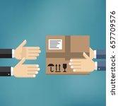 delivery mans hands giving... | Shutterstock .eps vector #657709576