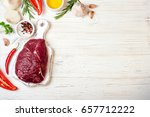 raw meat with herbs  spices and ... | Shutterstock . vector #657712222
