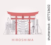 outline hiroshima skyline with... | Shutterstock .eps vector #657713632