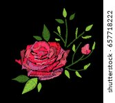 embroidery stitches with rose... | Shutterstock .eps vector #657718222