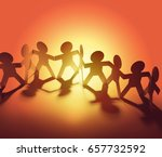 team of paper chain people | Shutterstock . vector #657732592