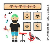 tattoo artist  master in salon. ... | Shutterstock .eps vector #657732616