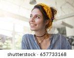 sideways portrait of beautiful... | Shutterstock . vector #657733168