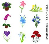 flowers flat icon set | Shutterstock .eps vector #657746566
