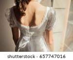 white bride with flowers and...   Shutterstock . vector #657747016