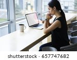 stressed and worried female... | Shutterstock . vector #657747682