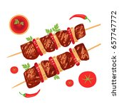 shish kebab on skewers with... | Shutterstock .eps vector #657747772