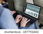 hands working on laptop network ... | Shutterstock . vector #657752602