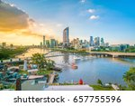 brisbane city skyline and... | Shutterstock . vector #657755596