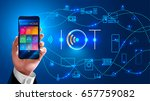 internet of things. businessman ... | Shutterstock .eps vector #657759082