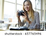 portrait of cheerful blonde... | Shutterstock . vector #657765496
