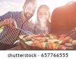 friends making barbecue and... | Shutterstock . vector #657766555