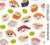 sushi emoji seamless pattern ... | Shutterstock .eps vector #657768112