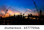 silhouette of the construction... | Shutterstock . vector #657770566