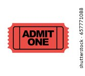 red admit one movie ticket icon.... | Shutterstock .eps vector #657771088