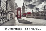 red telephone booth and big ben ... | Shutterstock . vector #657787822