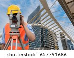 survey by theodolite concept.... | Shutterstock . vector #657791686