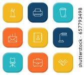 set of 9 work outline icons set.... | Shutterstock .eps vector #657793498