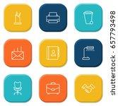 set of 9 work outline icons set.... | Shutterstock .eps vector #657793498