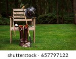 Stock photo polo horse back riding equipment boots gloves mallet 657797122